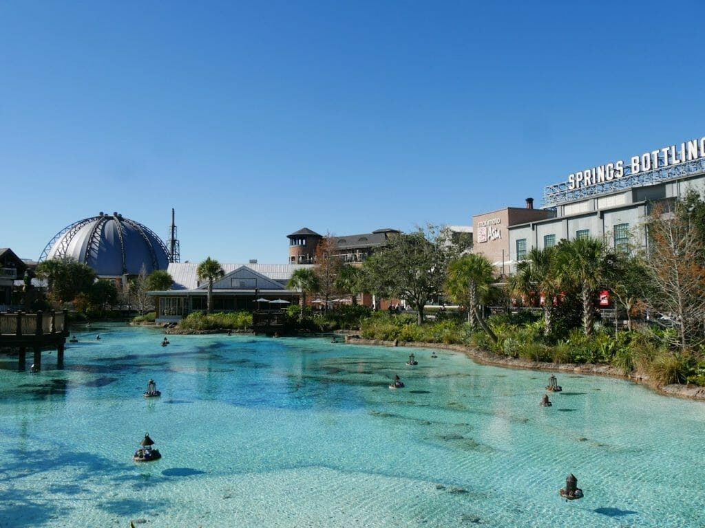 Lake at Disney Springs with blue water