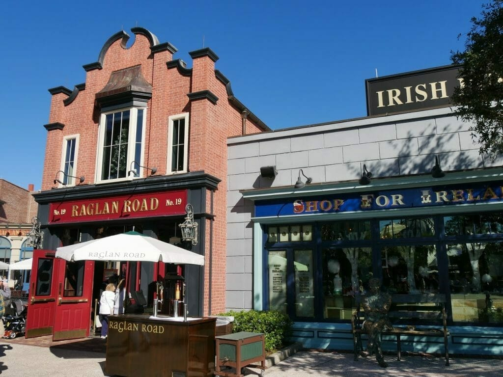 Raglan Road pub at Disney Springs with the Ireland shop next door