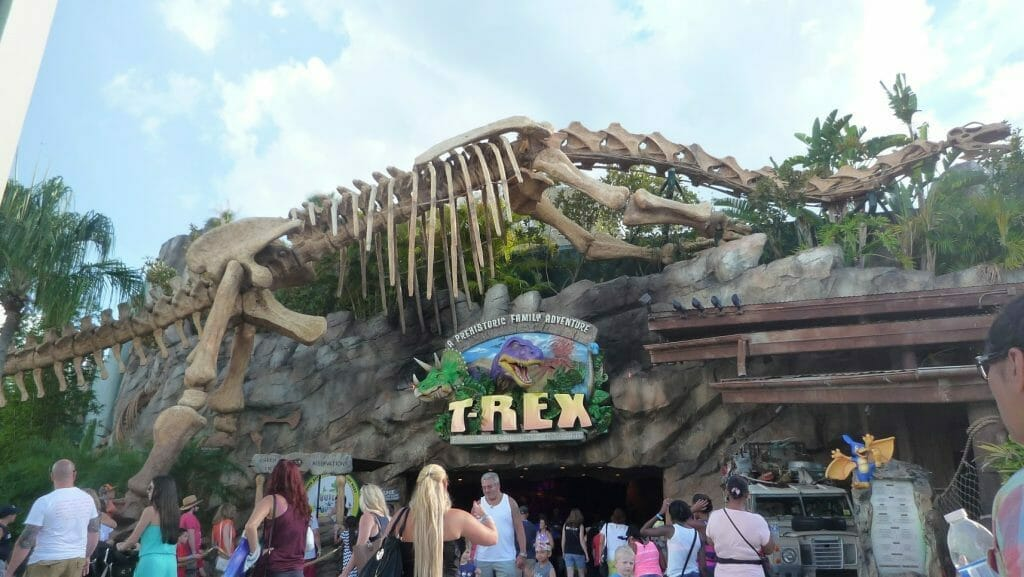 T-Rex entrance at Disney Springs with a large dinosaur skeleton above