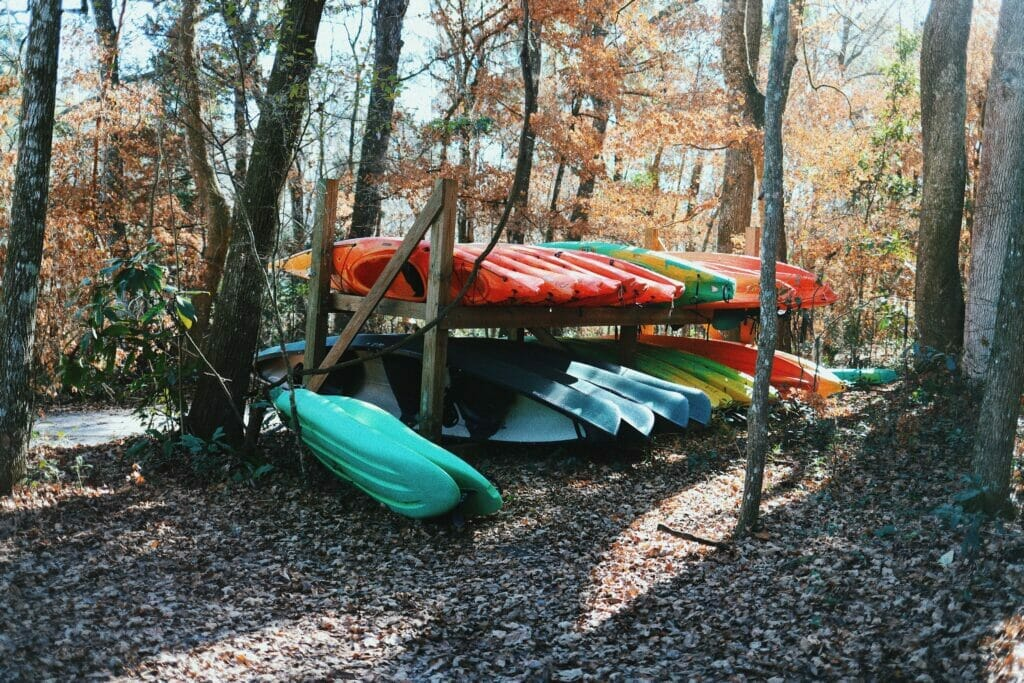 rack of kayaks in Florida