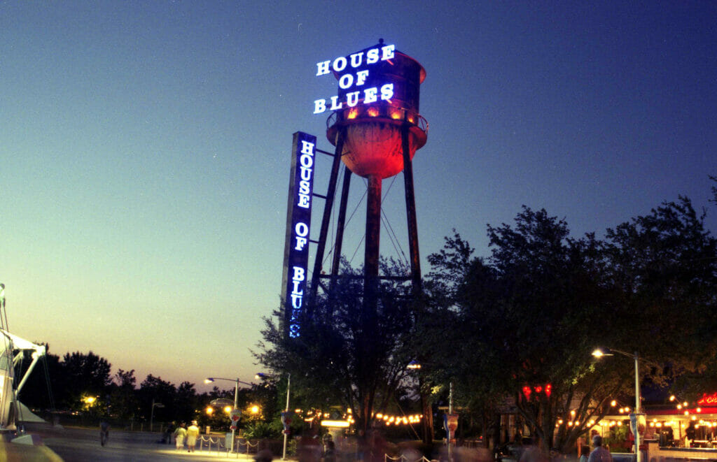 House of Blues in Disney Springs at night
