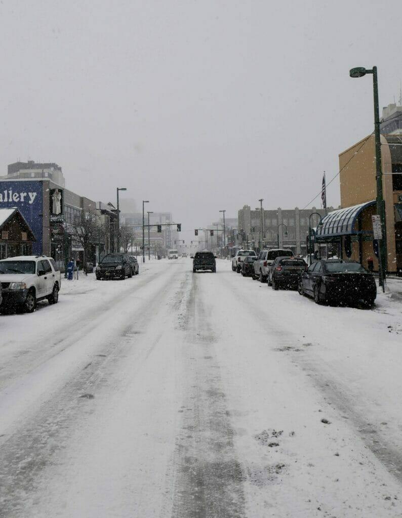 snowy road in anchorage alaska
