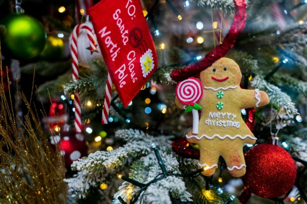 christmas ornaments on a tree