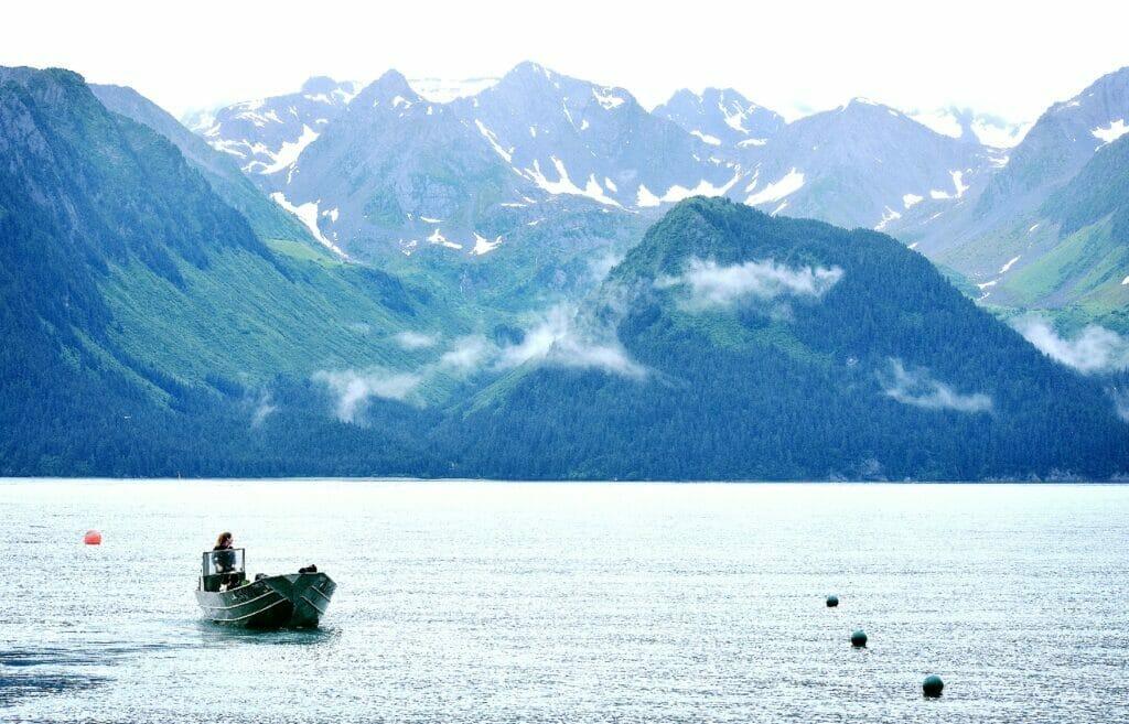 boat in water in seward alaska