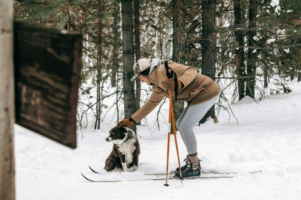 woman skiing in sitka alaska