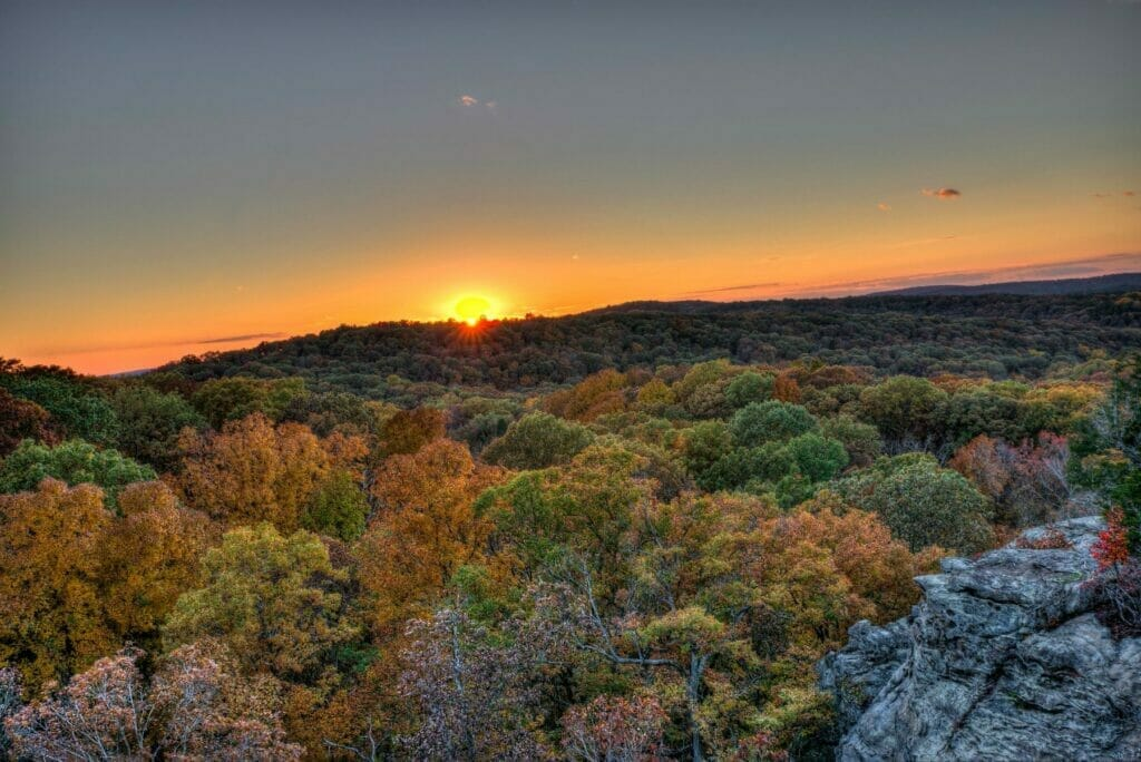 sunset over shawnee national forest