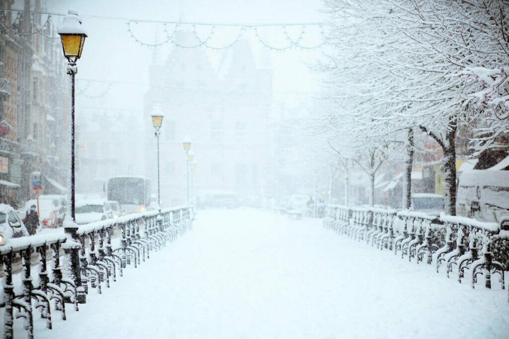 snow on a bridge