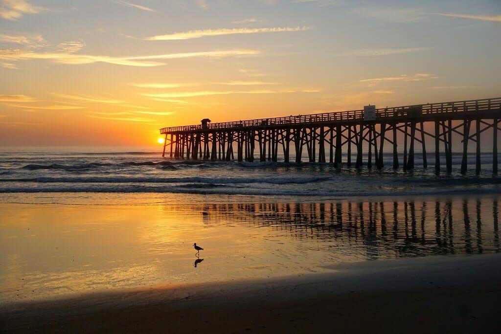 pier on flagler beach at sunset