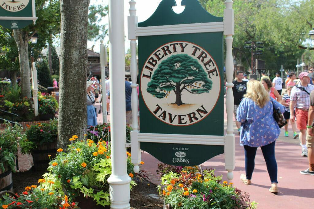 Liberty Tree Tavern sign at Magic Kingdom