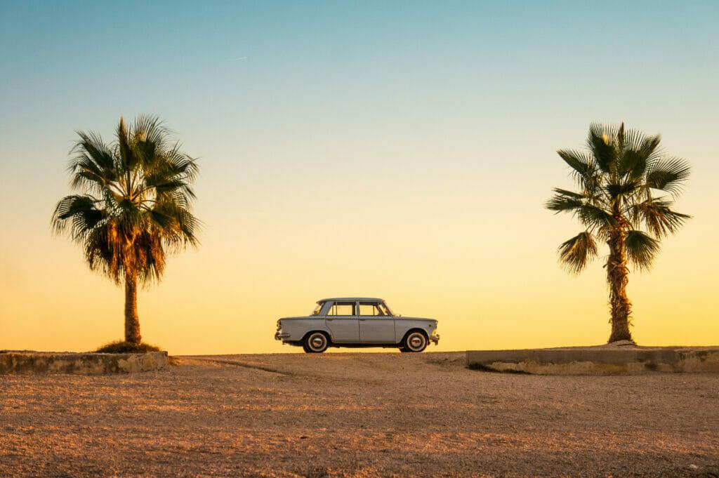 car on a beach